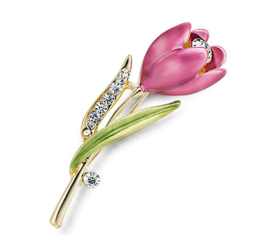 Clear Crystal Enamel Pink Tulip  Brooch