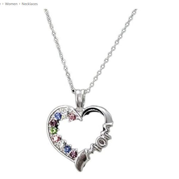 Silver Plated Colorful Crystal Rhinestone MOM Letter Heart Silver Pendant Necklace