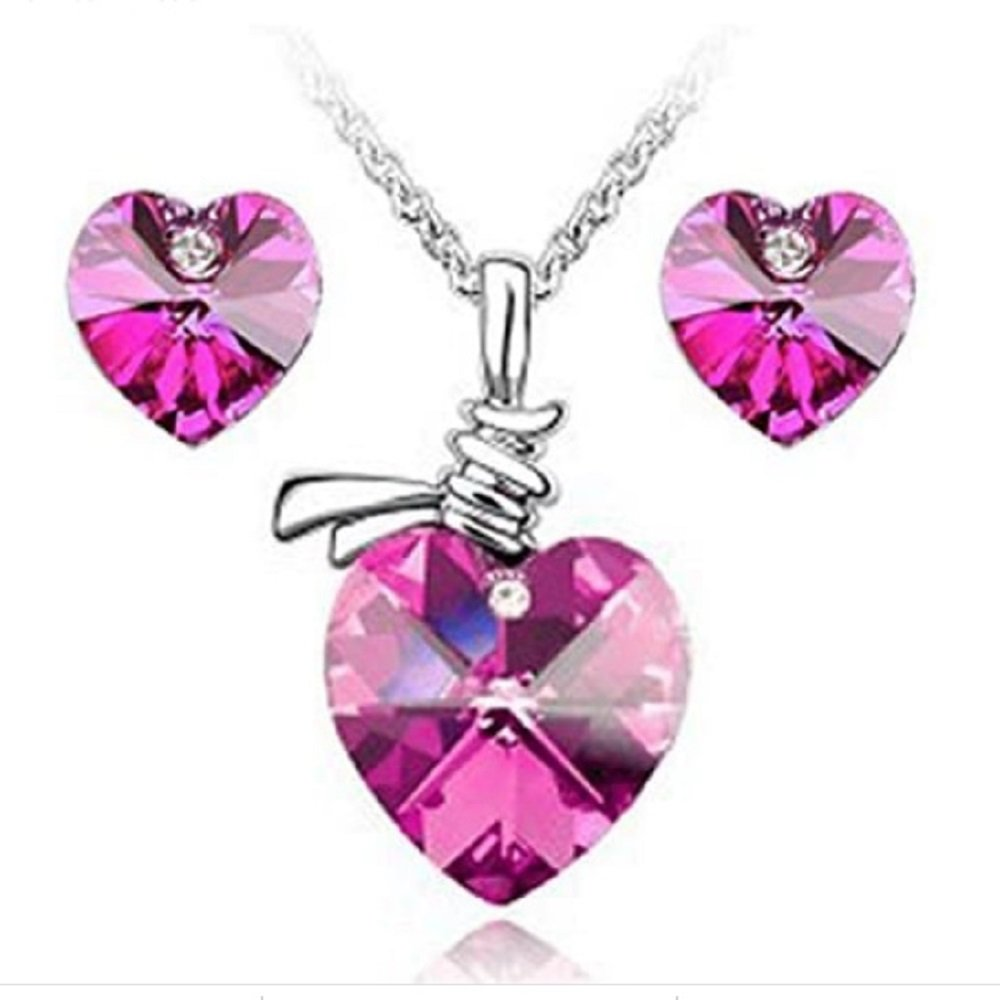 Silver Pink Austrian Crystal Heart Pendant Necklace and Earrings Set