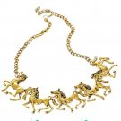 Gold Horses Animal Western Necklace