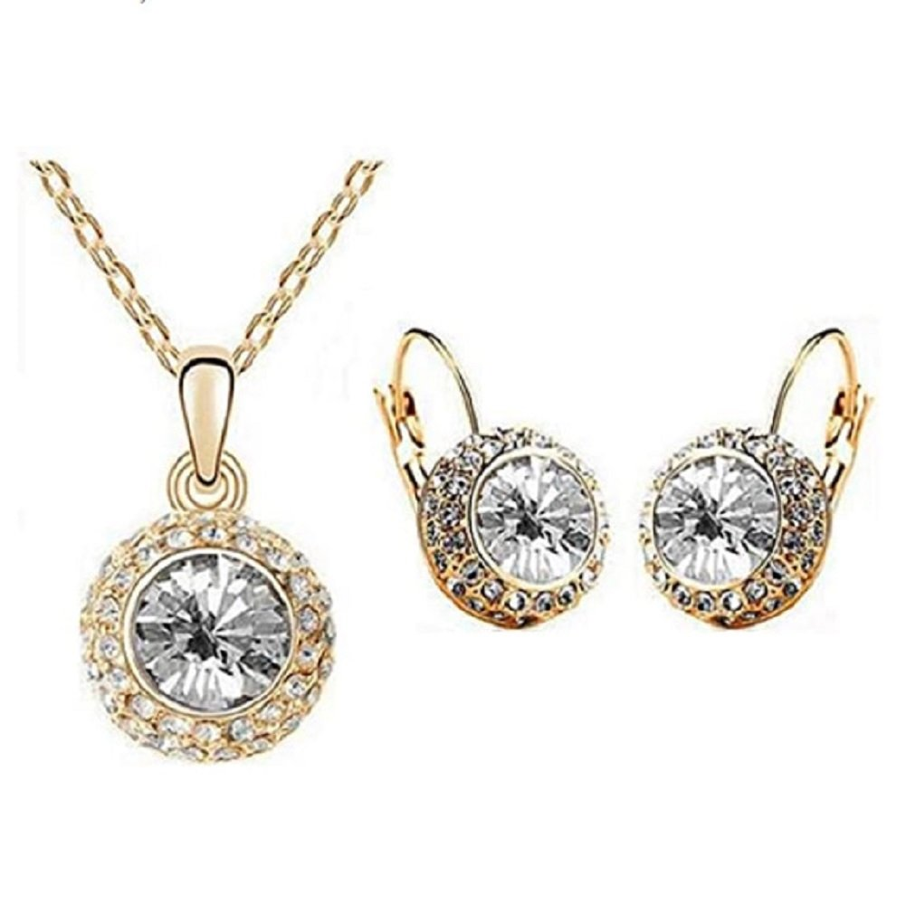 18KGP Austrian Crystal Moon Light Pendant Necklace and Earrings Set
