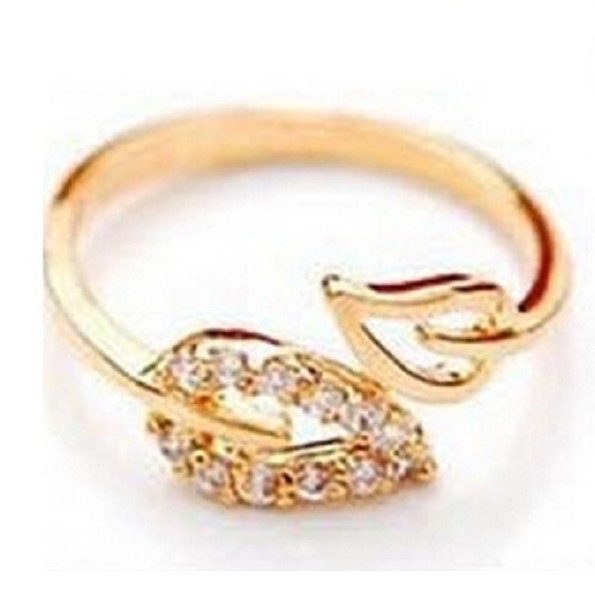 Gold Clear Crystal Ajustable Leaf Ring