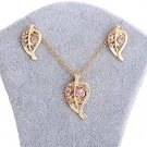 Gold Pink Rhinestones Leaf Pendant Necklace and Earrings Set