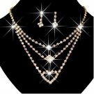 Gold Clear Crystal 3 Rows Wedding Party Necklace and Earrings Set
