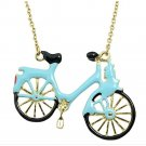 Gold Link Chain With Blue Black Enamel Bicycle Pendant Necklace