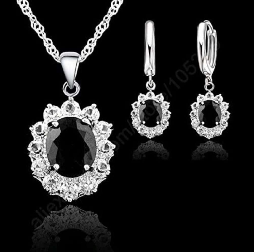 925 Silver Black CZ Oval Pendant Necklace and Earrings Set