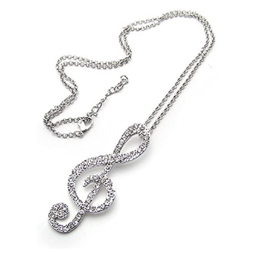 Silver Clear Crystal Big Treble Key Pendant Necklace