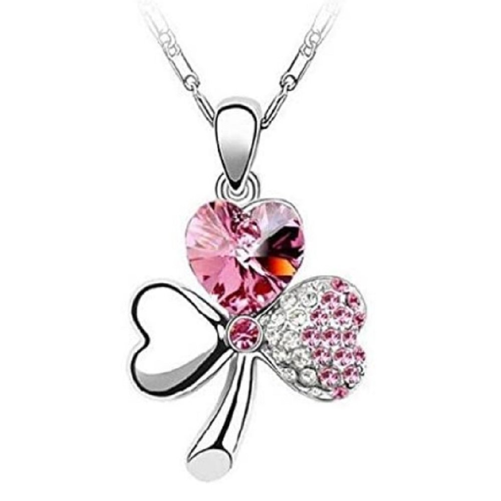 Silver Pink Crystal Three Leaf Clover Pendant Necklace