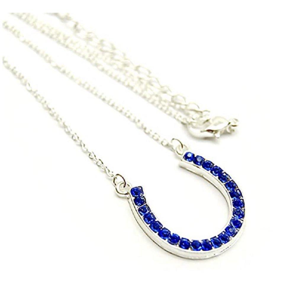 925 Silver Blue Crystal horseshoe Pendant Necklace