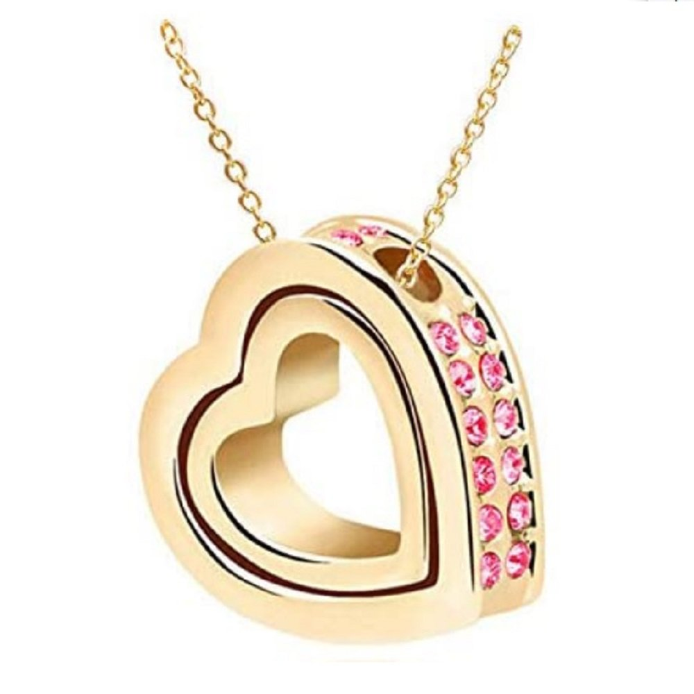 Gold  Pink Crystal Double Heart Pendant Necklace