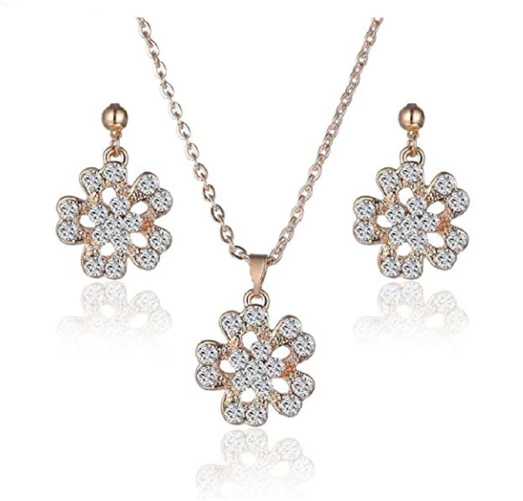 Gold Clear Crystal Flower Pendant Necklace and Earrings Set