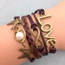 Antique Gold Infinity Love Pigeon Heart Pearl Leather Charm Bracelet