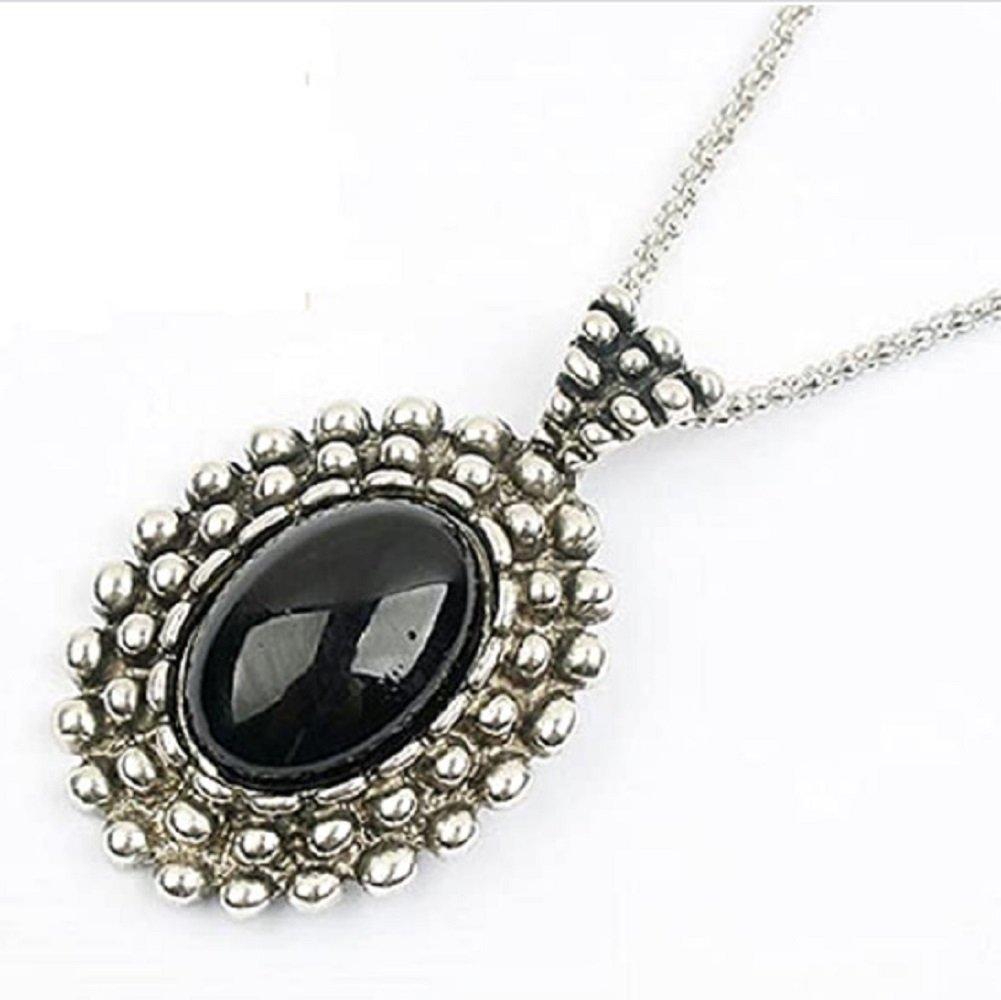 Antique Silver Black Stone Oval Pendant Necklace