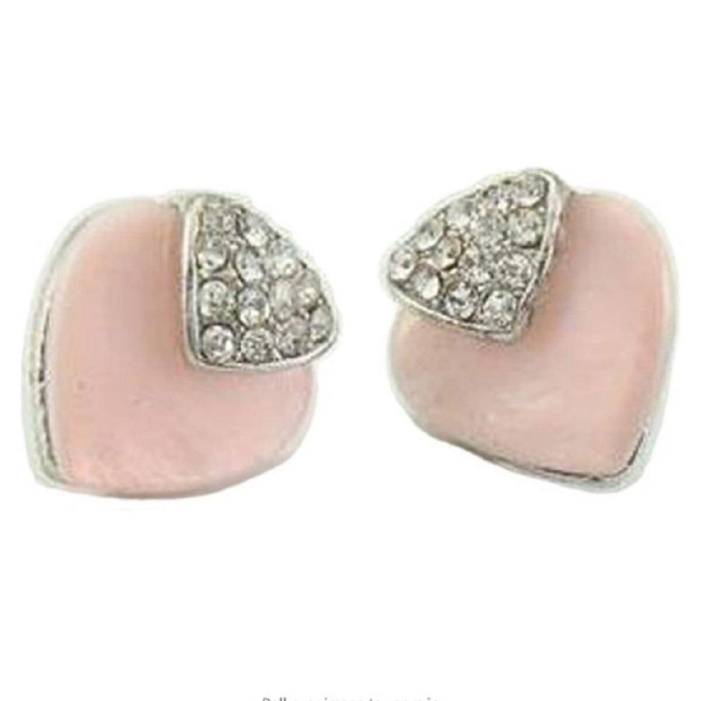 Silver Clear Crystal Pink Heart Stud Earrings