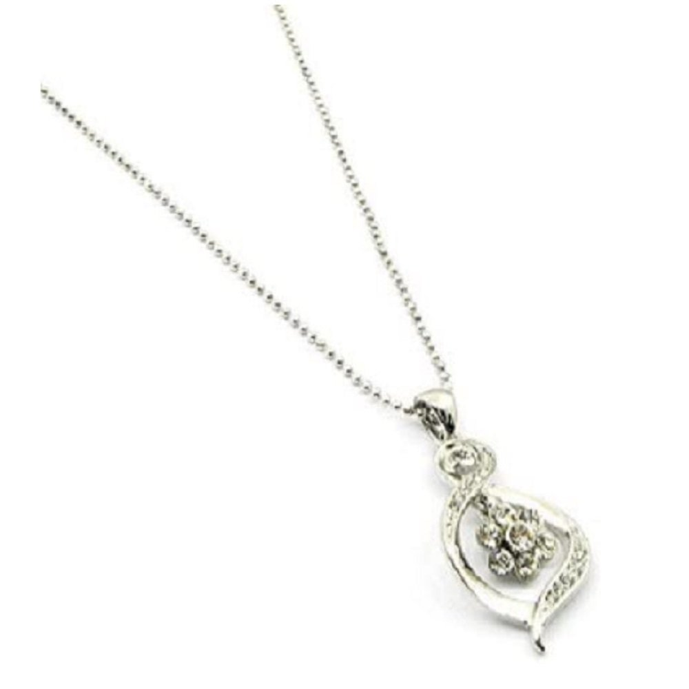 Silver Clear Crystal Pendant Necklace