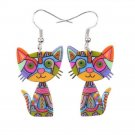 Silver  Colorful Acrylic Cat Drop and Dangle Earringss
