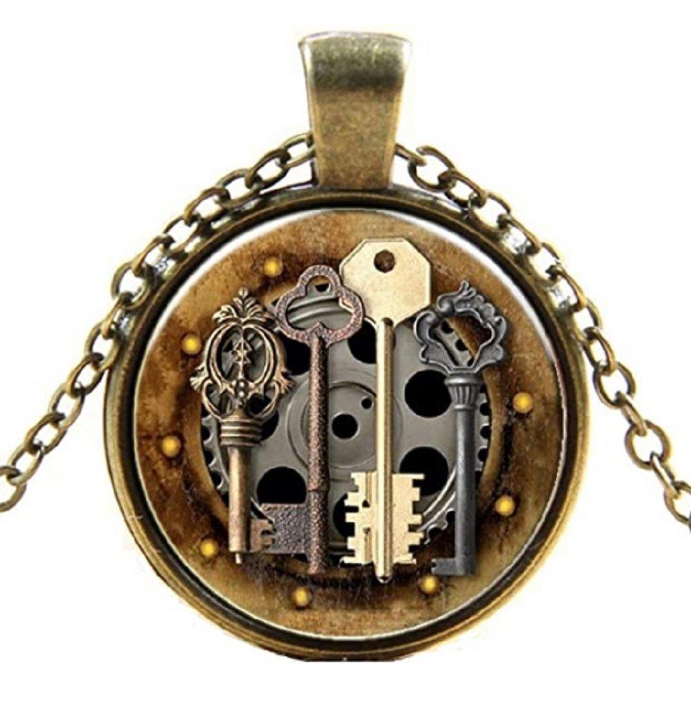 Antique Gold Key Glass Pendant Necklace