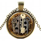 Antique Gold Key Glass Pendant Necklace