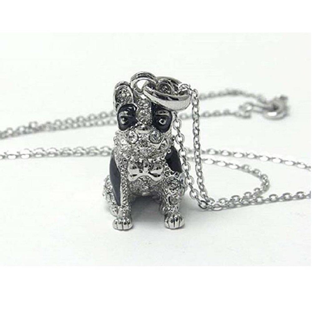 Silver Clear Crystal Black Enamel Dog Pendant Necklace