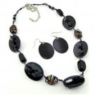 Black Pastille Necklace and Earrings Set