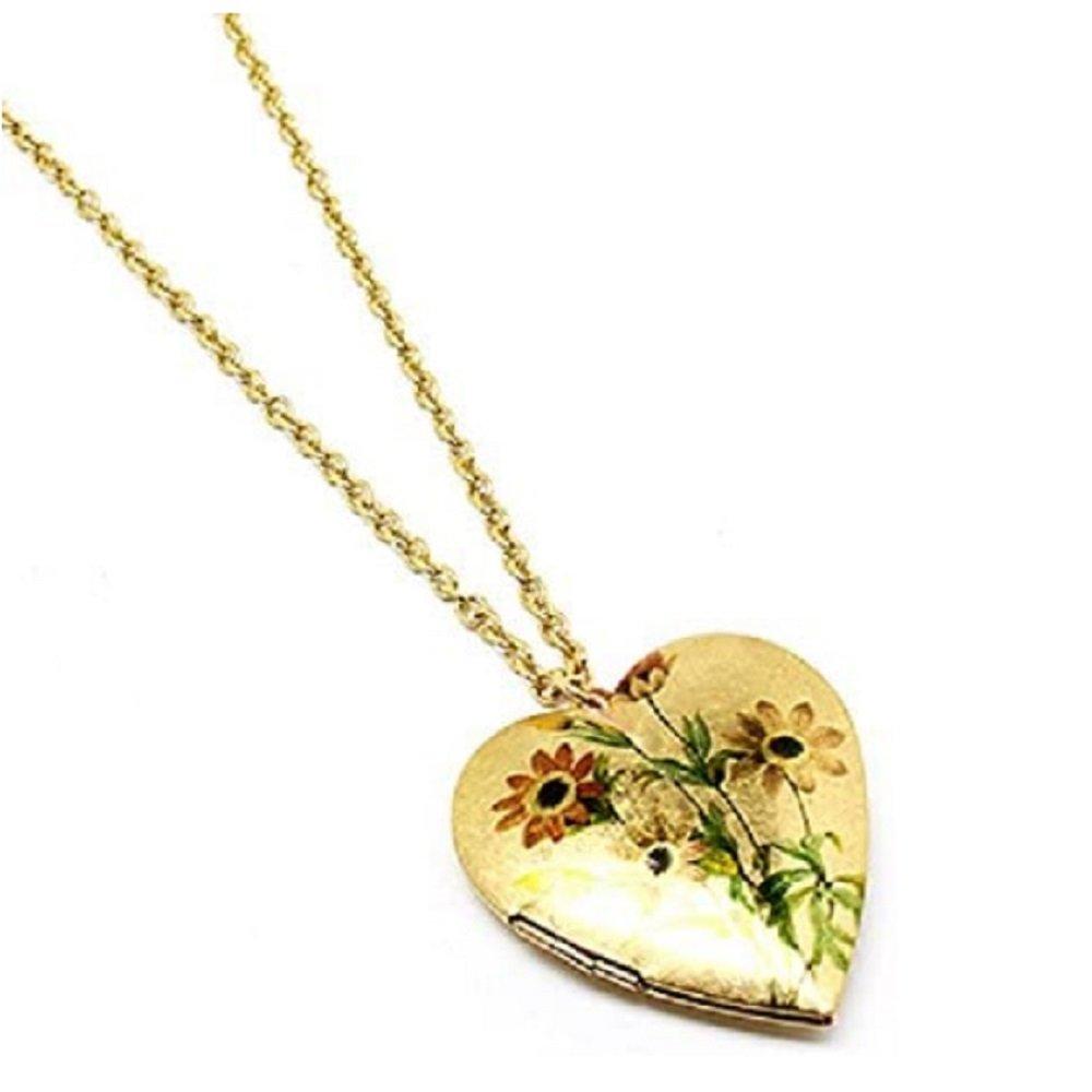 Gold  Sunflower Heart Open Locket Pendant Neckace