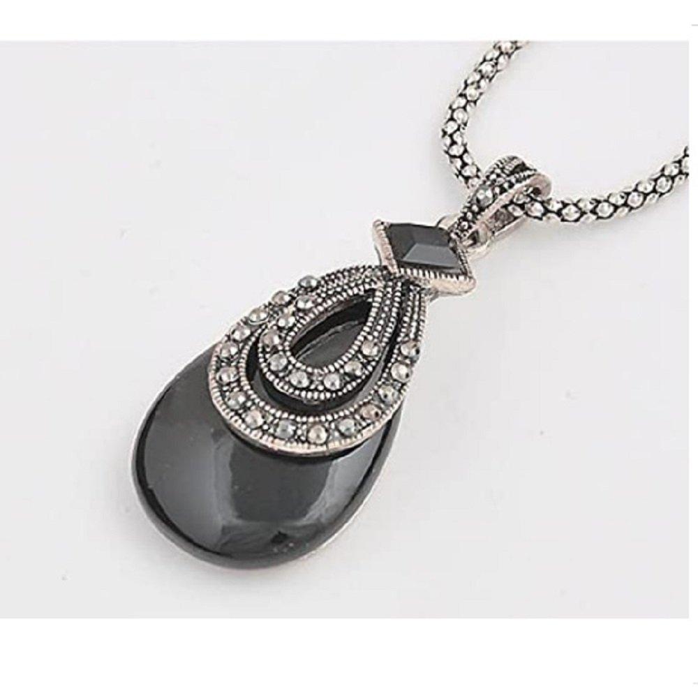 Silver Black Crystal Drop Pendant Necklace