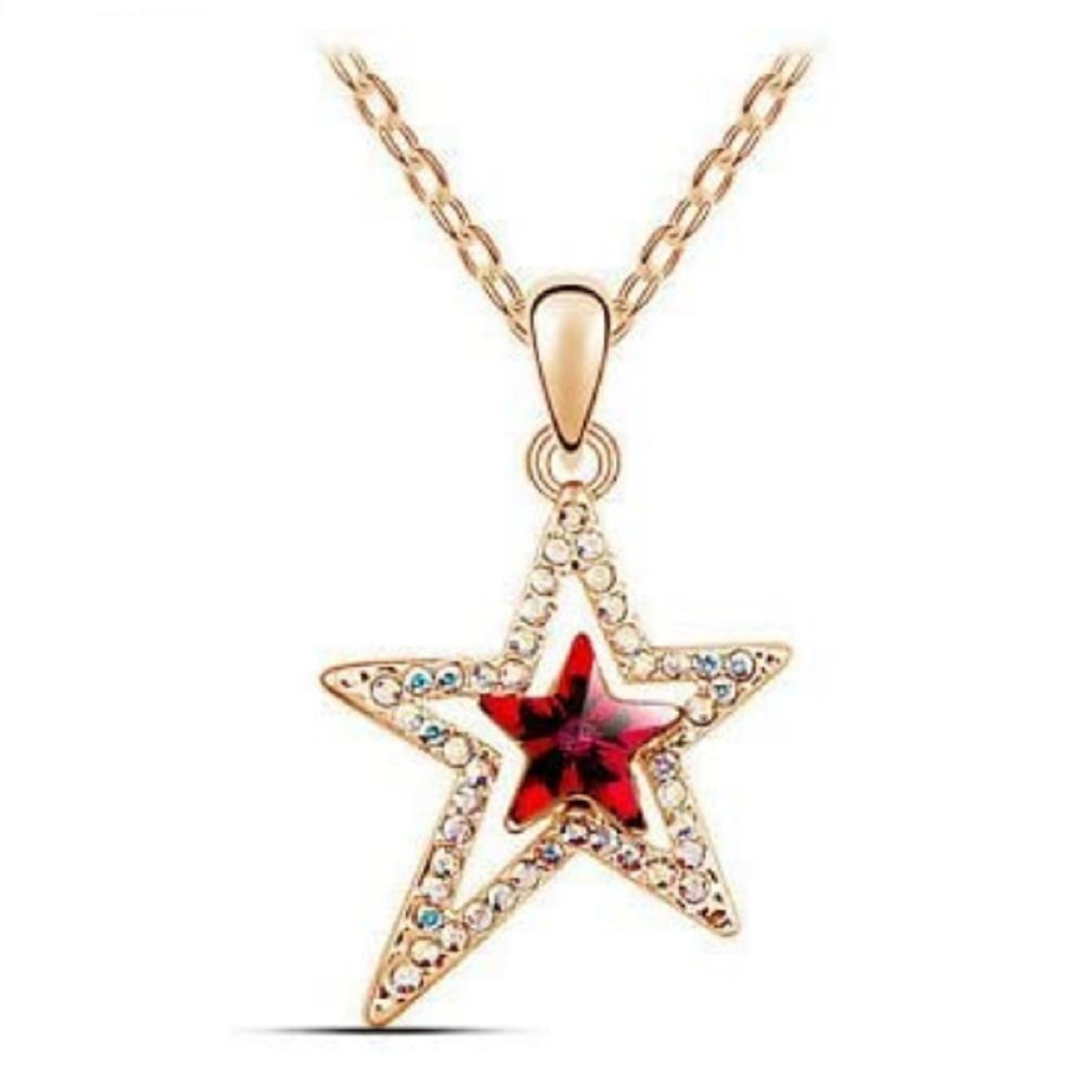 Gold Red and Aurora Borealis Crystal Star Pendant Necklace