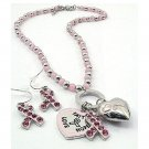 Silver Pink Ribbon Charms Necklace and Earrings Set