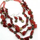 Silver Red and Round Bead Multi-Row Necklace and Earrings Set