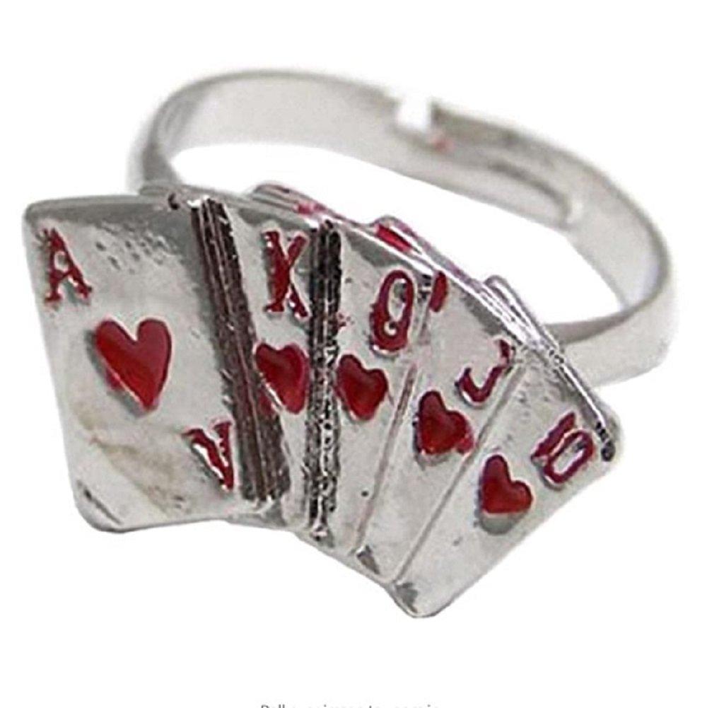 Silver Red Enamel Poker Ajustable Ring