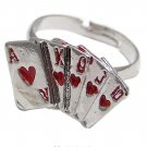 Silver Red Enamel Poker Ajustable Ring
