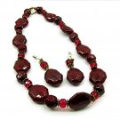 Depth Red Oval and Round Beads Necklace and Earrings Set