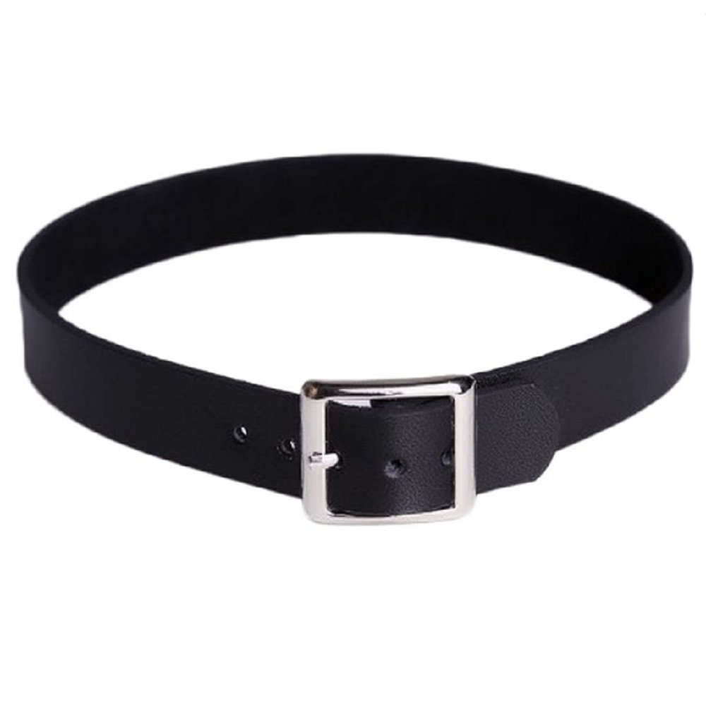 Silver Buckle Black Leather Belt Choker Necklace