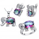 925 Silver Multicolor and Clear Crystal Elephant Pendant Necklace Earrings and Ring Set