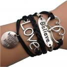 Black Rope Silver Love Letter Double Heart Charms Bracelet
