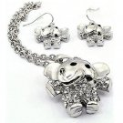 Silver Elephant Pendant Necklace and Earrings Set