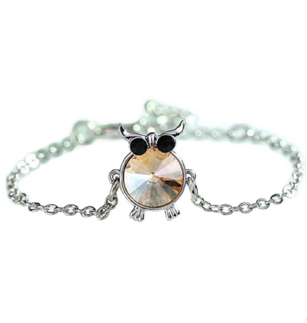 Silver Plated Round Champagne Crystal Owl Bracelet
