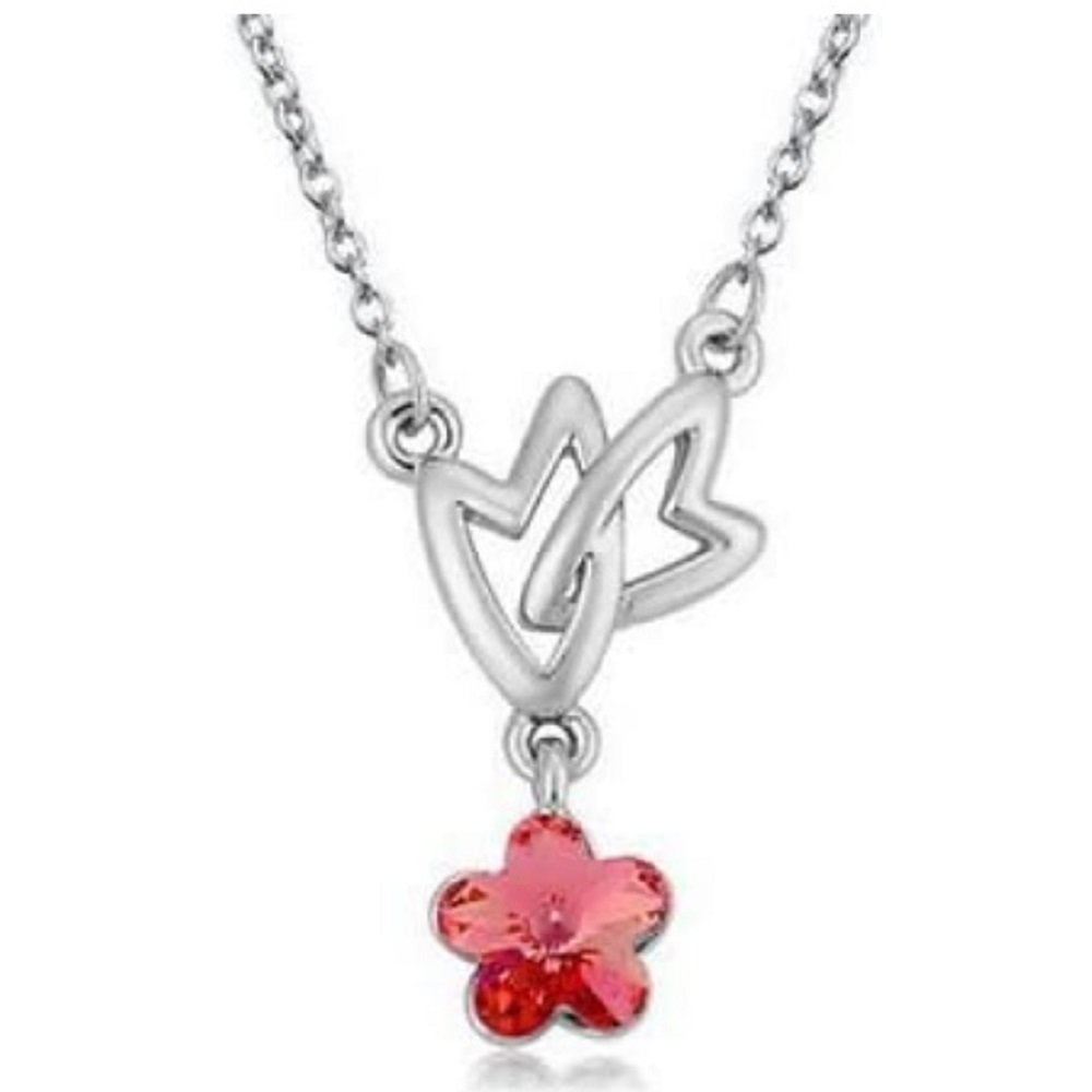 Silver Tone Double Heart Red Crystal Flower Pendant Necklace