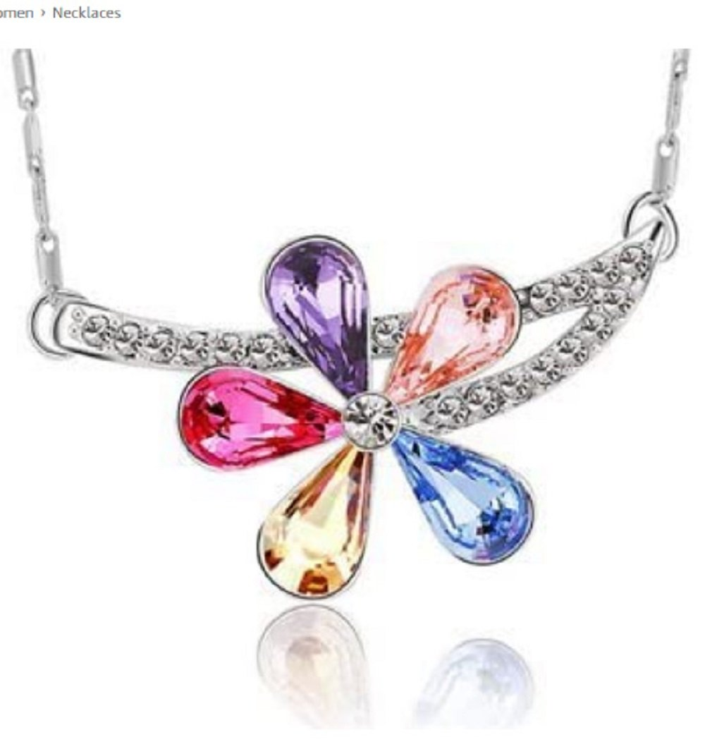 Silver Colorful Crystal Flower Pendant Necklace