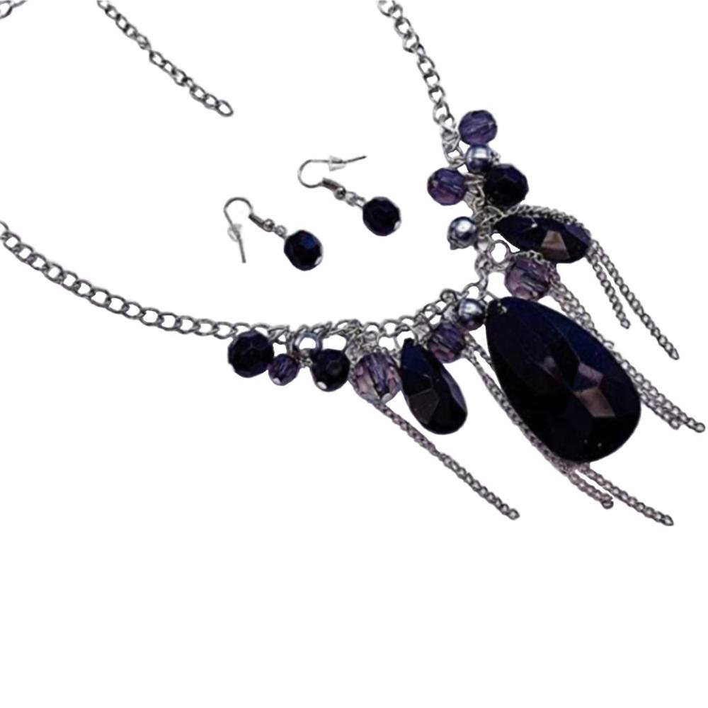 Silver Black and Smoky Greay Beads and Drop with Tassel Chain Necklace and Earrings Set