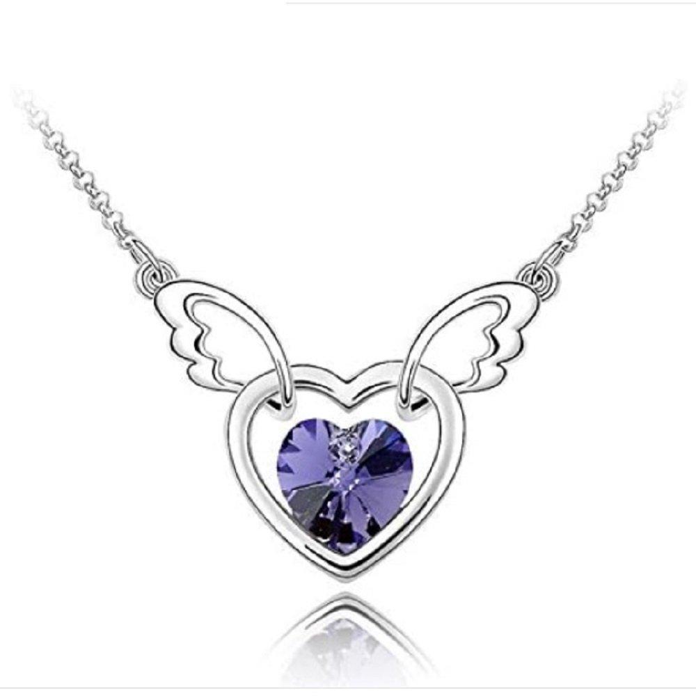 Silver Tone Purple Crystal Angel Wings Heart Pendant Necklace