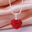 Silver Red Crystal Heart Pendant Necklace