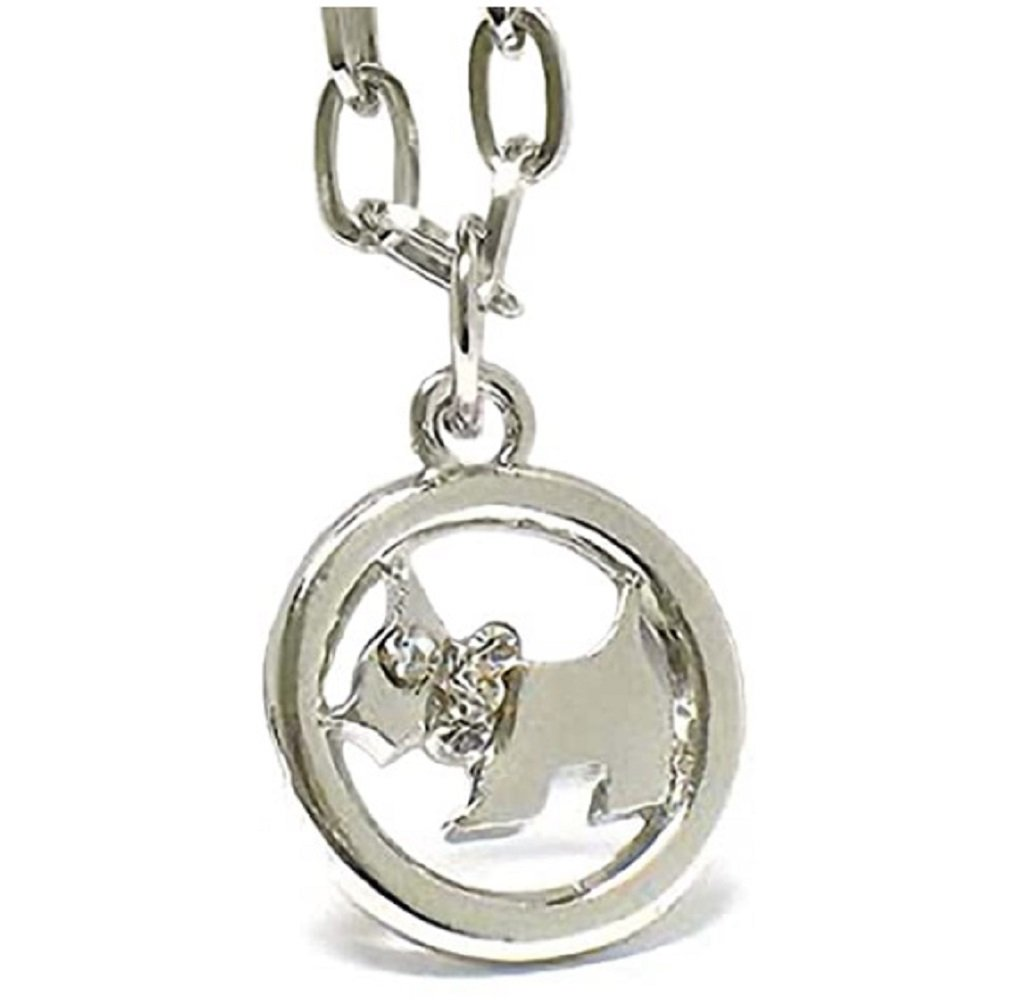 Silver  Clear Crystal Dog in Circle Pendant Necklace