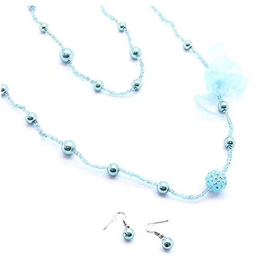 Light Blue Pearl Long Necklace and Earrings Set