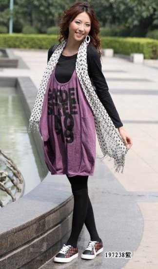 eBeauty*197238 - Purple Stunning Unique Korean Sweet Dress (comes with long sleeves black shirt)