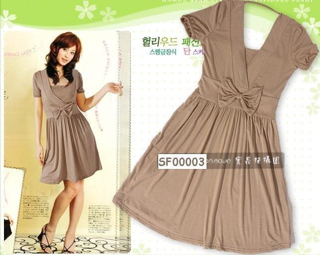 eBeauty*00003 - Camel color V neck Korean Cute Short Dress (comes with inner tube wear)