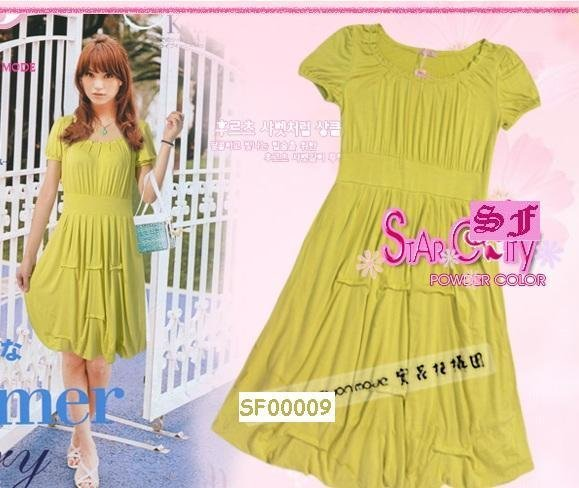eBeauty*00009 -  Olive Green Korea Stylish plain fitted short puffy dress
