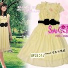 NEW ARRIVAL eBeauty*44201 Yellow  Chiffon Feminine korean stylish dress