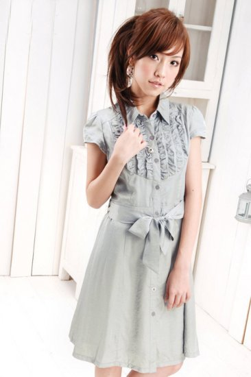 eBeauty*5601 Grey Feminine shinny cotton office wear korean dress