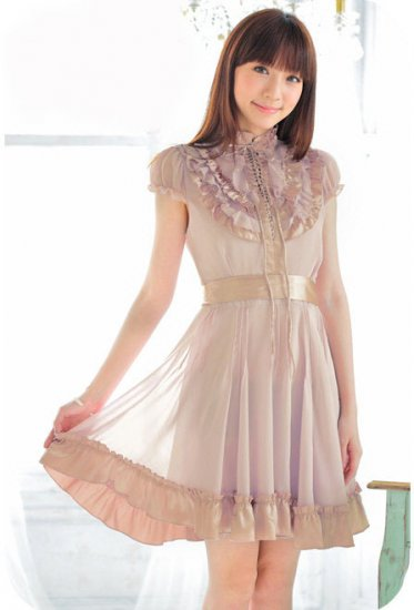 eBeauty*315 - Pink purple nice chiffon + satin Korean Dress
